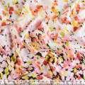 Шелк японский стрейч-купон бело-черный в желто-розовые цветы ш.150 оптом
