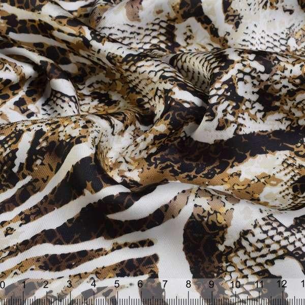 Шелк японский стрейч в горчично-коричнево-белый принт змеи ш.150 оптом