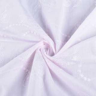 Батист розово-сиреневый вышитый рубашечный оптом