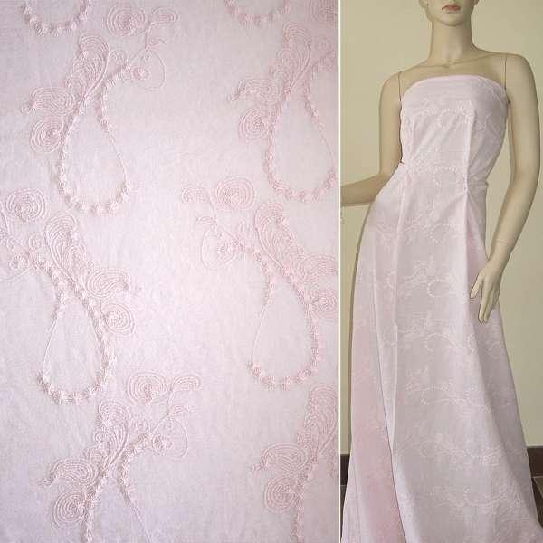 Батист розово-персиковый бледный вышитый рубашечный оптом