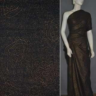 Батист черный с абстракцией вышивкой и золотым напылением ш.140 оптом