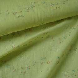 Батист деворе желтый бледный с разноцветной вышивкой ш.140