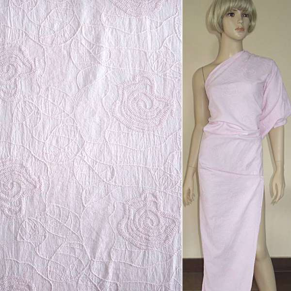 Батист розовый светлый с вышивкой ш.145 оптом