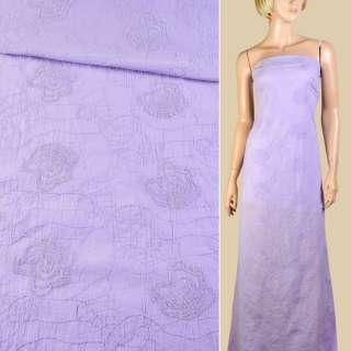 Батист фиолетовый светлый с вышивкой ш.145 оптом