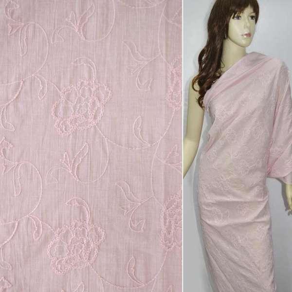Батист розовый вышитый крупными цветами оптом