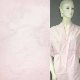 Батист розовый вышитый розовой нитью оптом