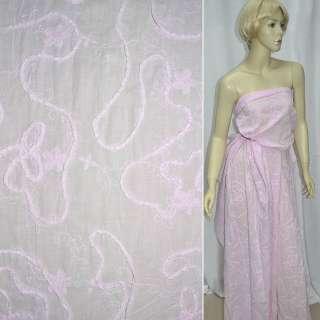 Батист розовый с вышивкой и настроченной тесьмой ш.140 оптом