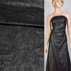 Батист черный с вышивкой и серебристым напылением, ш.140 оптом