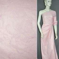 Батист серебристо-розовый с вышивкой и напылением оптом