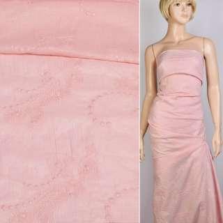 Батист розовый с серебряным напылением и вышивкой, ш.140 оптом