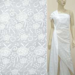 Батист деворе белый розы с завитками ш.140