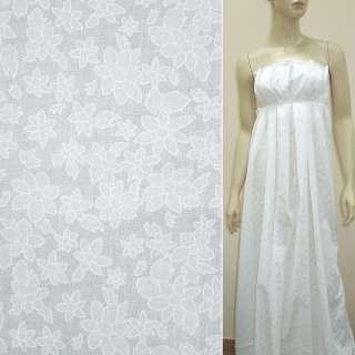 Батист деворе белый с большими и мелкими цветами ш.140 оптом