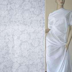 Батист деворе белый с цветами ш.140