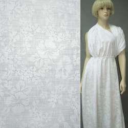 Батист деворе белый с крупными цветами ш.140
