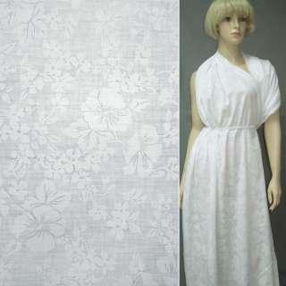 Батист деворе білий з великими квітами ш.140 оптом