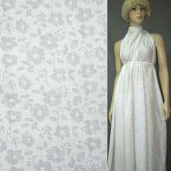Батист деворе белый в цветы с веточками ш.150