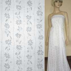 Батист деворе белый с вьющимися цветами ш.150
