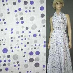 Батист белый в серо-фиолетовые круги ш.150