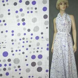 Батист белый в серо фиолетовые круги ш.150 оптом