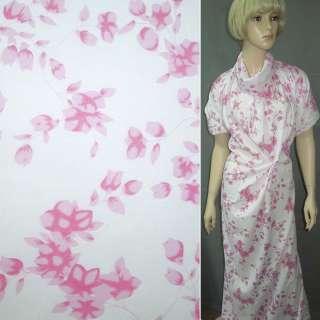 Батист белый в розовые цветы ш.150 оптом