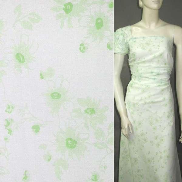 Батист белый с салатовыми цветами ш.145 оптом