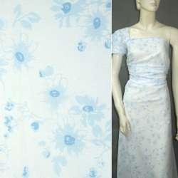 Батист белый с голубыми цветами ш.145 оптом