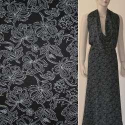 Батист черный в серые цветы с блестками ш.140 оптом