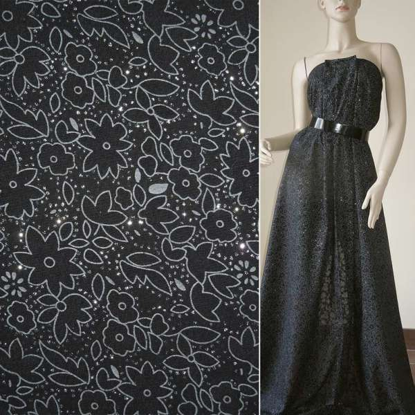 Батист черный с цветами деворе и блестками ш150 оптом
