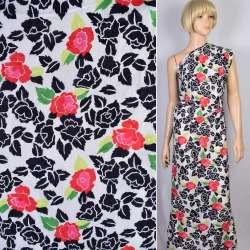 Батист деворе белый в синие и красно-розовые цветы ш.140