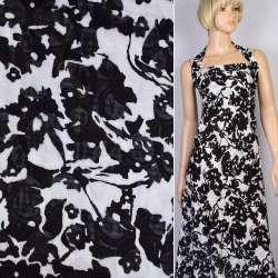 Батист деворе белый в черные цветы, ш.140
