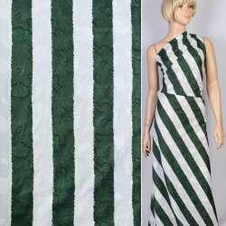 Батист деворе белый в темно-зеленую полоску 4,5см ш.140