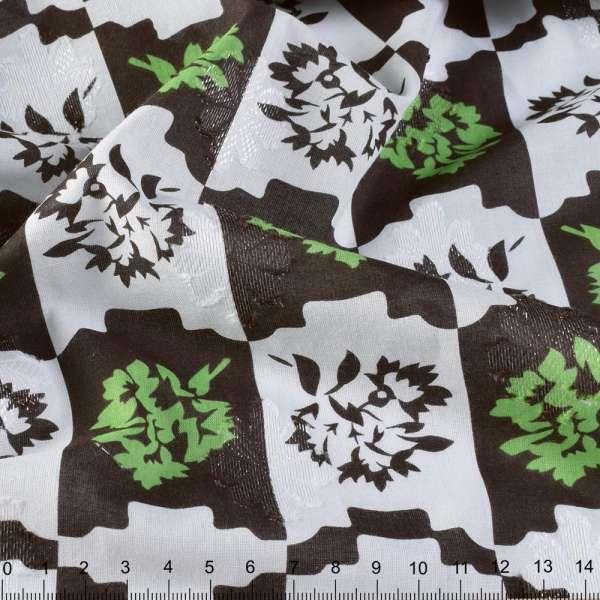 Батист деворе с метанитью коричнево-белая клетка,зеленые цветы ш.140 оптом
