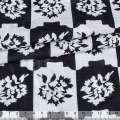 Батист деворе с метанитью черно-белая клетка с цветами ш.142 оптом