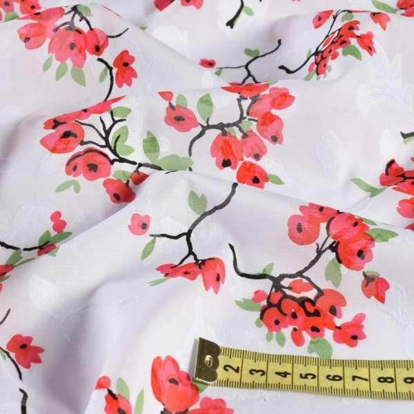 Батист деворе белый в красно-розовые цветочные ветки, ш.140 оптом