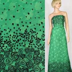 Батист деворе зеленый в черные розы купон, ш.140 оптом