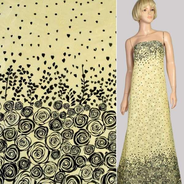Батист деворе желтый светлый в черные розы купон, ш.140 оптом