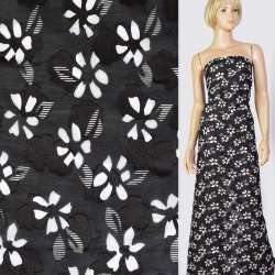 Батист деворе черный в белые цветы, ш.140 оптом