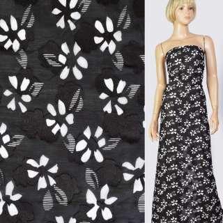 Батист деворе чорний в білі квіти, ш.140 оптом