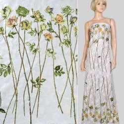 Батист деворе купон белый в розы на длинном стебле, ш.140 оптом