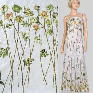 Батист деворе купон білий в троянди на довгому стеблі, ш.140 оптом