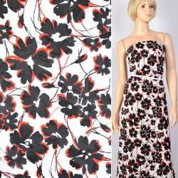 Батист деворе белый в черно-красные цветы, ш.140 оптом