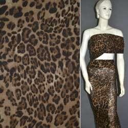 Батист диллон коричневый с черным принт леопард ш.140 оптом