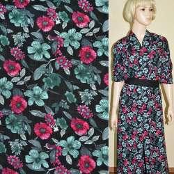 Батист диллон черный с красно-серыми цветами ш.140
