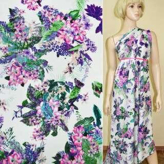 Батист диллон белый с розово-фиолетовыми цветами ш.140 оптом
