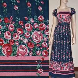 Батист диллон синий,двухсторонний купон розово-вишневые цветы и полоски ш.140