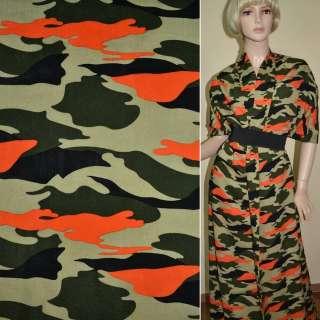 Батист диллон зелено-черный оранжевый камуфляж ш.140 оптом