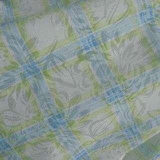 Батист белый в салатово голубую клетку ш.140 оптом
