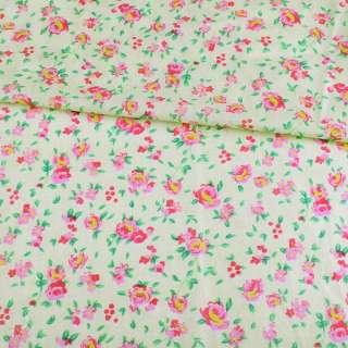 Батист кремовый в розово-желтые розы, ш.140 оптом