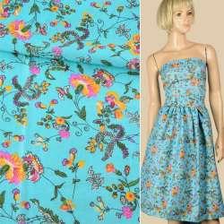 Батист голубой, розово-желтые цветы, вьющиеся ветки, ш.140