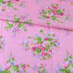 Батист розовый в розово-сиреневые букеты, ш.140